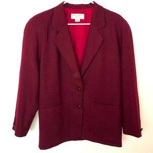 Vintage Christian Dior Wine Blazer 100% Wool 1980s